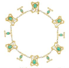 Art Nouveau Gold, Jade and Freshwater Pearl Necklace and Bracelet   14 kt., circa 1900,