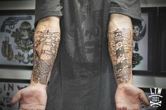 Traditional lighthouse and ship tattoo
