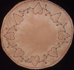 Primitive Stitchery Patterns | Primitive Stitchery Candle Mat PATTERN Valentine by thetalkingcrow