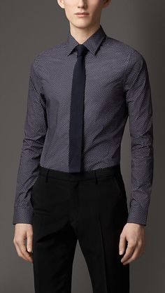 Burberry London Slim Fit Polka Dot Cotton Shirt