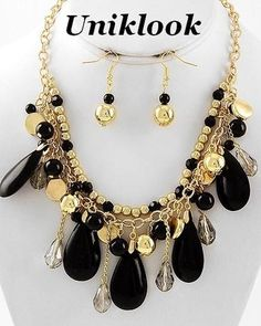Glam Up Bold Jet Black Acrylic Bead Gold Statement Jewelry Necklace Earrings Set