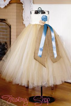 Too cute!  Going to make these w/o the crochet top     Vintage Blue and Champagne Burlap Tutu Dress by FrostingShop, $75.00