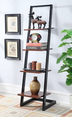 "Designs2Go 66"" Leaning Bookcase"