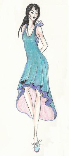 Fashion illustration print fashion drawing 8x10 marker by Zoia, $20.00