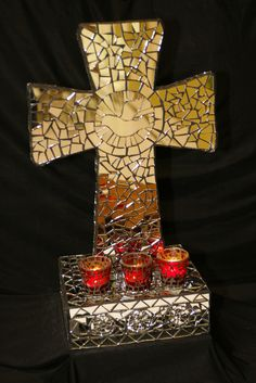Mosaic mirror cross