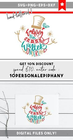 snowman svg, winter svg files, christmas cut files, handletter eps png, cricut downloads, silhouette, svg files for cricut, lettering art