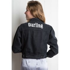 Amara Darling Denim Jacket ($50) ❤ liked on Polyvore featuring outerwear, jackets, embroidered jackets, jean jacket, boyfriend jacket, boyfriend jean jacket and button up jacket