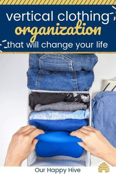 Vertical filing of your clothes is a simple yet highly effective change. It helps you to easily organize your folded clothes, view a broader selection of clothing at once, and gives you access to all of your folded items. Home Organization Hacks, Closet Organization, Kitchen Organization, Clothing Organization, Clothing Racks, Clothes Storage, Organizing Ideas, Diy Clothes, Declutter Your Home