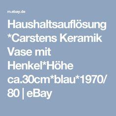 Haushaltsauflösung*Carstens Keramik Vase mit Henkel*Höhe ca.30cm*blau*1970/80 | eBay