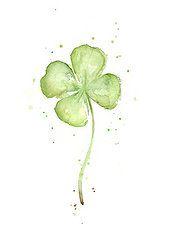 Watercolor Art - Four Leaf Clover Lucky Charm  by Olga Shvartsur