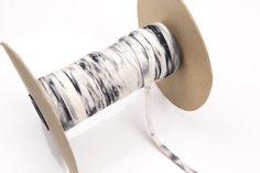 Black and Off White Knit Jersey Trim Spaghetti by felinusfabrics