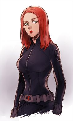 kanapy:  Black Widow on Winter Soldier set  Don't mind me about her costume. I draw it from my imagination. I just want to draw her new haircut. XD