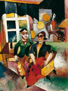 Heinrich Campendonk (1915) was one of the most independent artists among the Rhenish Expressionists. The close connection to Der Blaue Reiter, which he shared with August Macke, was, biographically and stylistically seen, more important for the artist than the little concrete contact he had with the Rhenish Avantgarde.  Campendonk was not only influenced by the art of cubism, but also by those of futurism and, above all, Delaunay's pointilism.