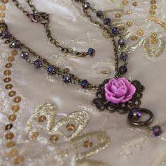 Vintage cabochon necklace - 'Rose Cameo' - mauve, antique bronze - FREE UK P&P