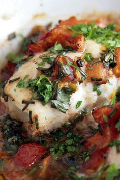 Halibut in Artichoke and Tomato Broth. This would be great with just about any fish.