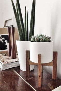 white & wood planter pots