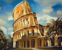 Coliseum. Rome architecture - watercolor painting