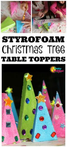 Kids can make these fun and colourful Christmas trees to display on your holiday table or a mantel or window sill this Christmas!