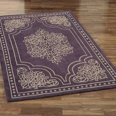 The romantic Vintage Lace Area Rugs feature a dusty purple field with taupe scrolls and an outer taupe border of dotted circles. Hand-tufted and handcarved. Trendy Colors, Vivid Colors, All Things Purple, Purple Stuff, Dusty Purple, Vintage Lace, Vintage Ideas, Vintage Trends, Round Rugs