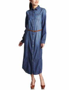Amazon.co.jp: (ジョルダーノ)GIORDANO Wデニムシャツワンピース長袖: 服&ファッション小物