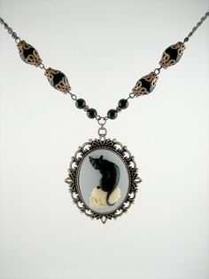Black Cat on Skull Cameo Necklace, Etsy  #jewelry #old #lady