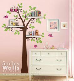 Shelves Tree Decal Children Wall Decal -Shelf Tree Wall Decal Nursery Kids Decal Wall Sticker Room Decor