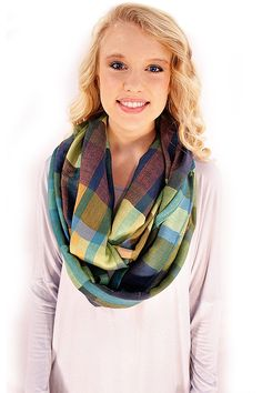 Not Your Traditional Plaid Scarf - Turquoise and green combine in a unique, although nontraditional version of plaid. And we are loving it! Especially in the form of these lightweight but cozy infinity scarf.  - available online at http://www.envyboutique.us/shop/untraditional-plaid-scarf/ #Envy #Boutique #chic #fashion #fashiontrends #BluePlaidScarf, #PlaidScarf