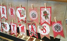 DIY Christmas Decor Banner featuring Stampin' Up! Banner & Large Letter framelits with Candy Cane Lane paper, Cookie Cutter Christmas bundle and Jolly Hat punch.