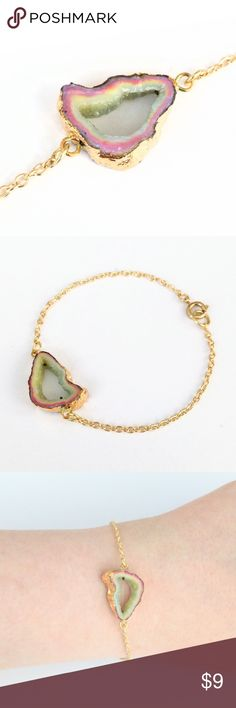 """Genuine druzy geode slice bracelet Natural beauty meets a chic and modern design in this gold-plated stunner!  A slice of genuine druzy geode takes center stage in gorgeous colors ideal for stacking and perfect on its own!    Nickel and lead free.  About 7.5"""" long.  PRICE IS FIRM and extremely reasonable, but click """"add to bundle"""" to save 10% on your purchase of 2+ items today! Jewelry Bracelets"""