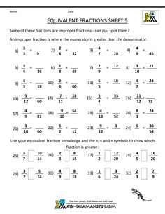 printable fraction worksheets equivalent fractions 5