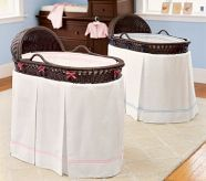 Bordered Pique Bassinet Bedding, White with Chocolate Piping
