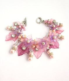 lucite flower jewelry ideas | Lavender and Pink Lucite Leaf Charm Bracelet