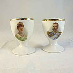 Pair 1911 Coronation Egg Cups, George V and Queen Mary.
