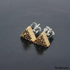Modern Gold Druzy Triangle Ear Stud Earrings  925 Sterling