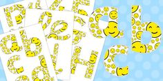 Smiley Face Display Lettering - This pack features our sets of display lettering and numbers for your smiley face themed lesson!