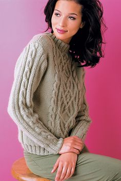 Ravelry: Cabled Pullover pattern by Kathy Zimmerman