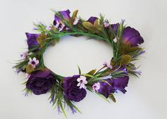 Large Purple Lisianthus Flower Crown for Weddings, Bridal, Bridemaids, Hens and Parties Floral Hair, Floral Crown, Mermaid Crown, Crystal Crown, Pink Daisy, Crown Hairstyles, Flower Crowns, Hens, Deep Purple