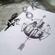 I like this idea for a compass tattoo!