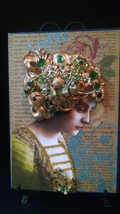 Journal, Book, Photo Of Victorian Lady, Head Piece made with Gold Tone Vintage Jewelry. Rhinestones, Trimmed in Faux Leather