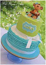 Hot Mamas Cakes   Baby Shower Monkey themed baby shower cake in blue ruffles