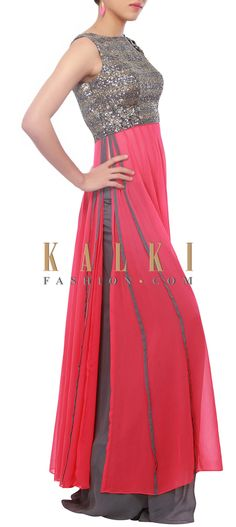 Buy Online from the link below. We ship worldwide (Free Shipping over US$100) http://www.kalkifashion.com/cherry-pink-suit-embellished-in-sequins-only-on-kalki.html