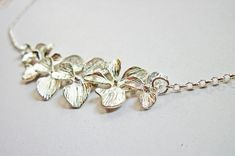 Silver Orchid Necklace, Flowers necklace, white gold plated. Orchid flower, Dangling Orchids, Floral Necklace Flower Jewelry, Bridesmaids