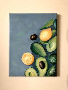 Food Art Painting, Lemon Painting, Art Painting Gallery, Fruit Painting, Paintings Of Fruit, Green Paintings, Avocado Picture, Avocado Art, Tableau Pop Art