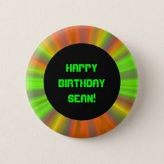 Personalized Light Show Fractal Art Birthday Pinback Button Fractal Design, Fractal Art, Fractals, Art Birthday, Happy Birthday, Font Styles, Online Gifts, Text Messages, Personalized Gifts