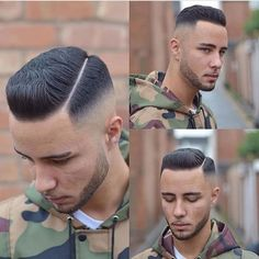 High Skin Fade with Hard Part and Brush Up