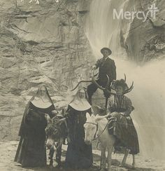 Recognize this waterfall? Sister Josephine Nulty (Knapp) and Sister Celestine Kennedy were photographed in front of an unknown location between 1891-1918.  Best guess is Seven Falls in Colorado. The #SistersOfMercy ran a hospital in Manitou Springs in that same time period. #ThrowbackThursday #tbt