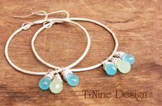 Aqua Blue and Pale Green Chalcedony Sterling Silver Hoops by TNineDesign