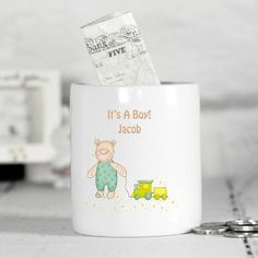 Baby Gift Idea - Personalised New Baby Money Box - It's a Boy - Lovely Present Idea for Newborn or Baby Shower