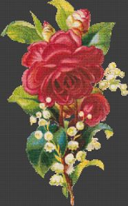 Fabric: 22 count Aida Stitches: 153 x 248 Size: 7 inches x 12 inches Number of Colors: 124