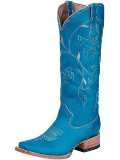 Premier Boots Ladies Aqua Leaf Square Toe Boot at Cowgirl Blondie's Western Boutique